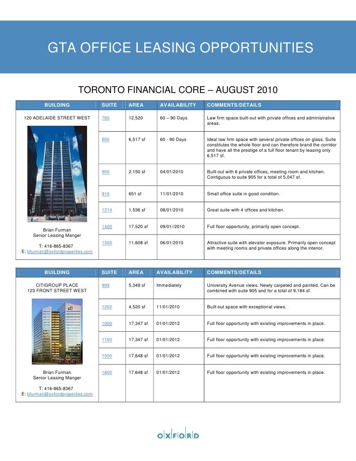 GTA OFFICE LEASING OPPORTUNITIES                          TORONTO FINANCIAL CORE – AUGUST 2010          BUILDING          ...
