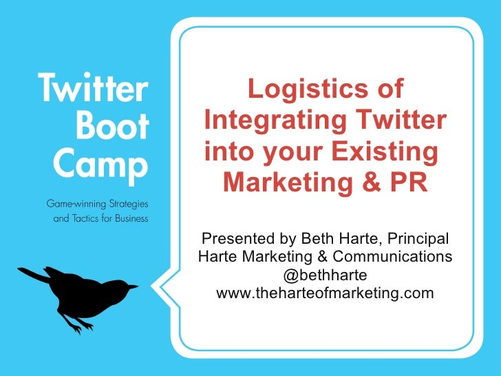 Logistics of Integrating Twitter into your Existing  Marketing & PR <ul><li>Presented by Beth Harte, Principal </li></ul><...
