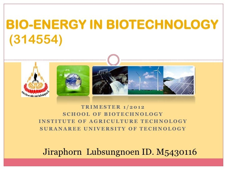 BIO-ENERGY IN BIOTECHNOLOGY(314554)               TRIMESTER 1/2012          SCHOOL OF BIOTECHNOLOGY    INSTITUTE OF AGRICU...