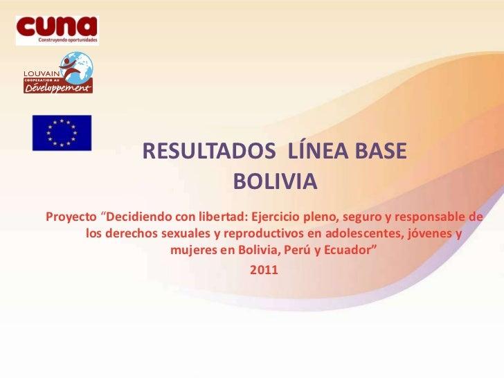 """RESULTADOS LÍNEA BASE                       BOLIVIAProyecto """"Decidiendo con libertad: Ejercicio pleno, seguro y responsabl..."""