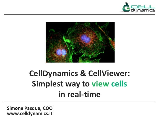 Simone Pasqua, COO www.celldynamics.it CellDynamics & CellViewer: Simplest way to view cells in real-time