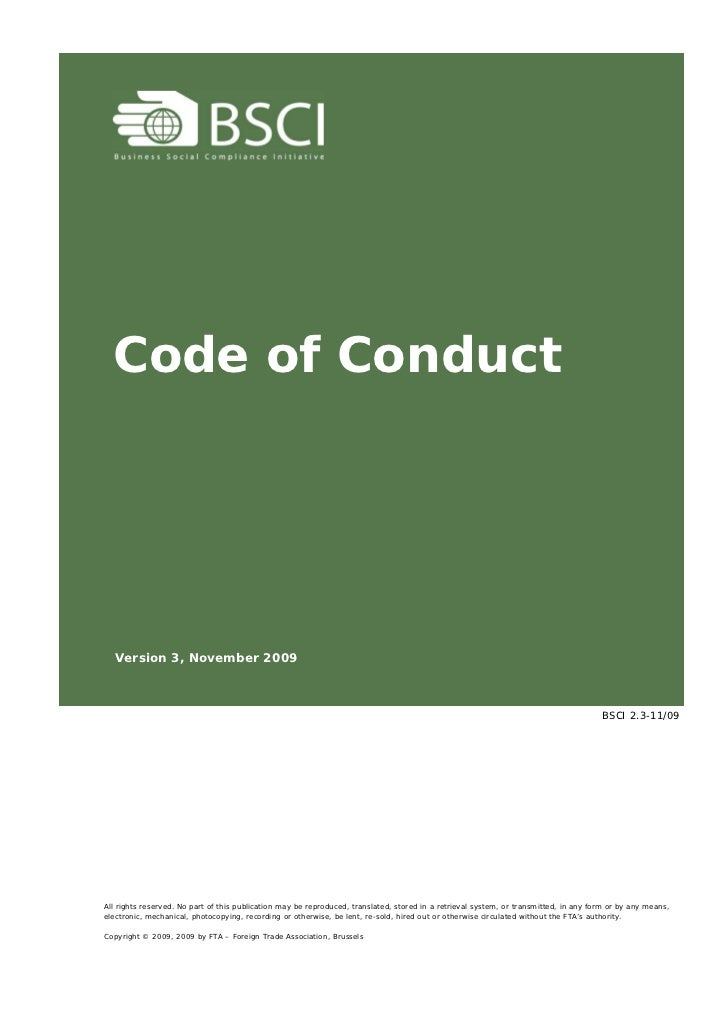 Code of Conduct  Version 3, November 2009                                                                                 ...