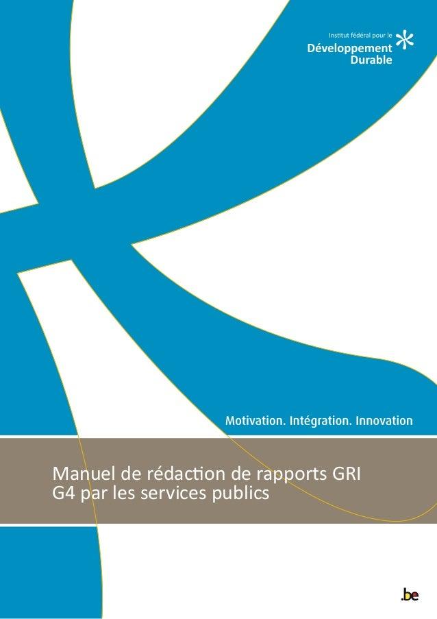 Manuel de rédaction de rapports GRI G4 par les services publics