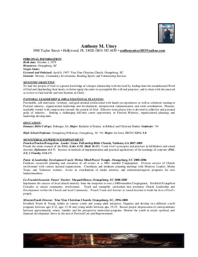 Sample Pastor Resume Tomburorddiner