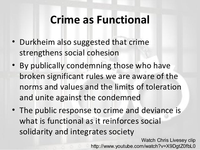 functionalism and crime and deviance Functionalist prospective on deviance essay functionalist prospective on deviance essay 701 words dec 26th, 2005 3 pages show more assess the usefulness of functionalist approaches in explaining crime (21) functionalists look at society as a whole.