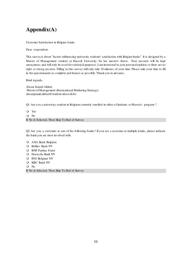 customer satisfaction thesis