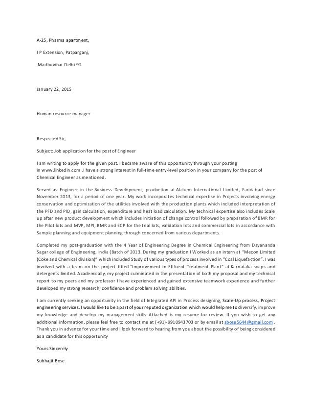 chemical engineer cover letter Chemical engineer cover letter : get free sample chemical engineer cover letter cover letters for your engineering resume.