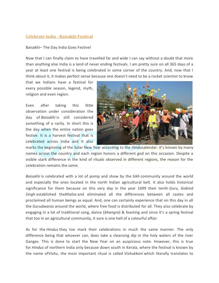 Celebrate India - Baisakhi Festival