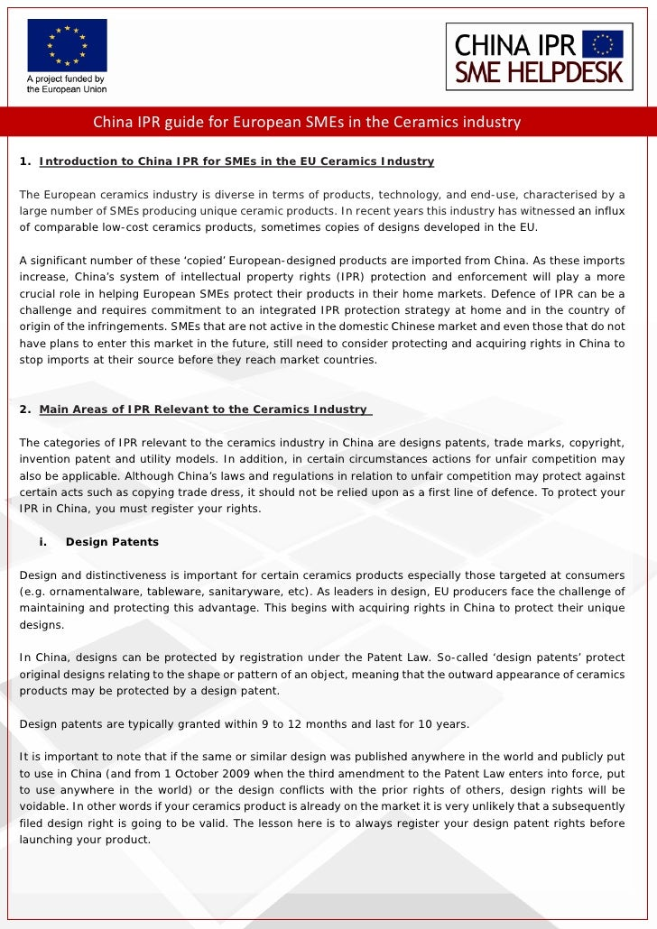 China IPR guide for European SMEs in the Ceramics industry       1. Introduction to China IPR for SMEs in the EU Ceramics ...
