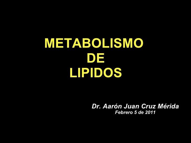 METABOLISMO  DE LIPIDOS Dr. Aar ón Juan Cruz Mérida Febrero 5 de 2011