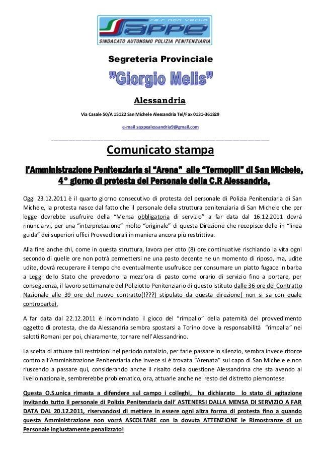 Segreteria Provinciale Alessandria Via Casale 50/A 15122 San Michele Alessandria Tel/Fax 0131-361829 e-mail sappealessandr...