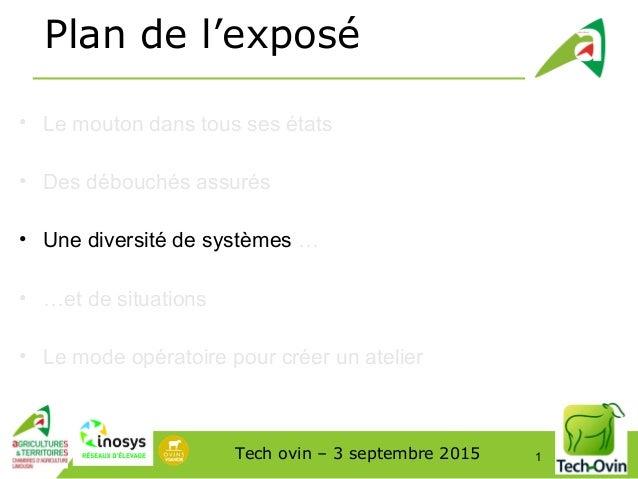 Tech ovin – 3 septembre 2015 1 Plan de l'exposé • Le mouton dans tous ses états • Des débouchés assurés • Une diversité de...