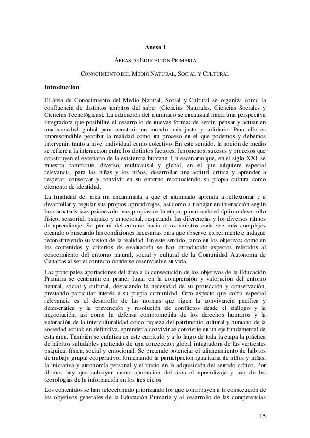 Anexo I ÁREAS DE EDUCACIÓN PRIMARIA CONOCIMIENTO DEL MEDIO NATURAL, SOCIAL Y CULTURAL Introducción El área de Conocimiento...