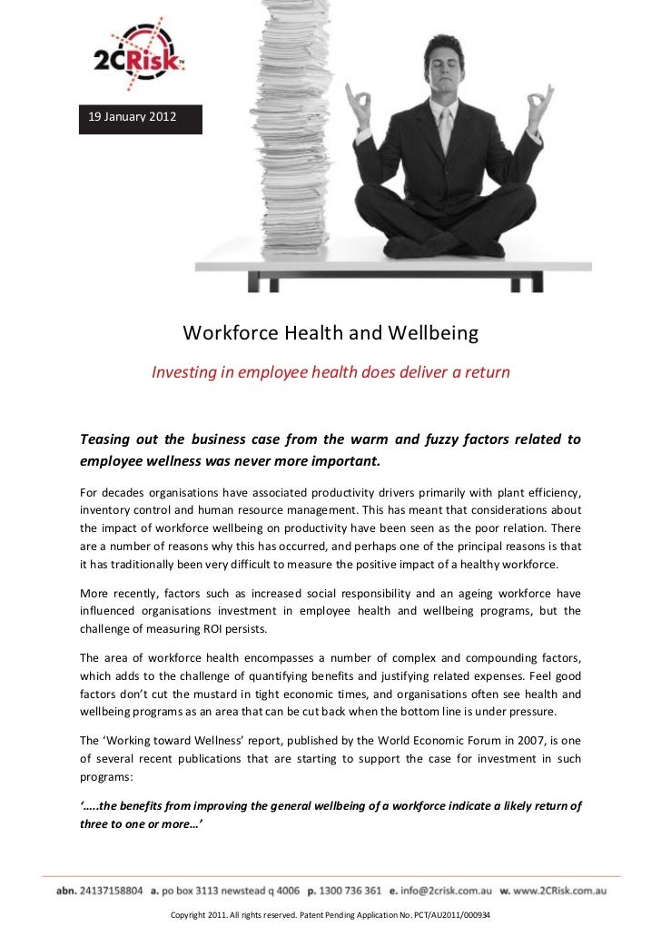 2 C Risk Health And Wellbeing White Paper Jan 2012