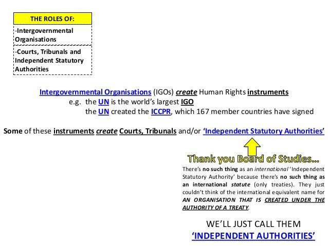 THE ROLES OF:-IntergovernmentalOrganisations-Courts, Tribunals andIndependent StatutoryAuthoritiesIntergovernmental Organi...