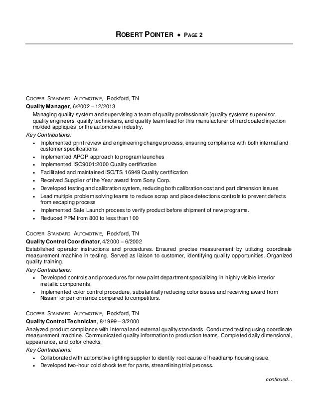 Cover Letter Supplier Quality Engineer