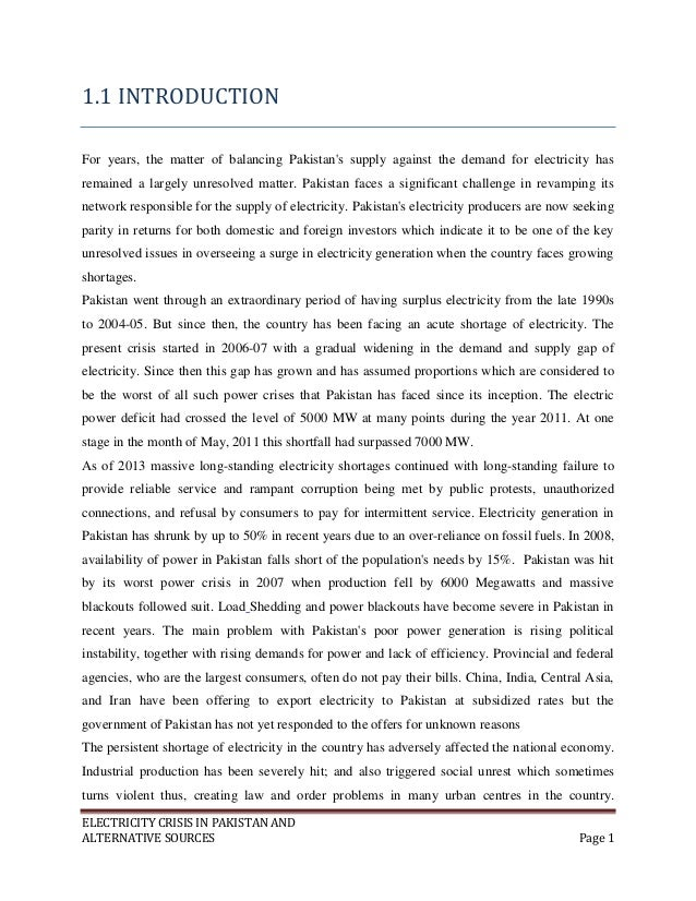 problem of electricity in pakistan essay