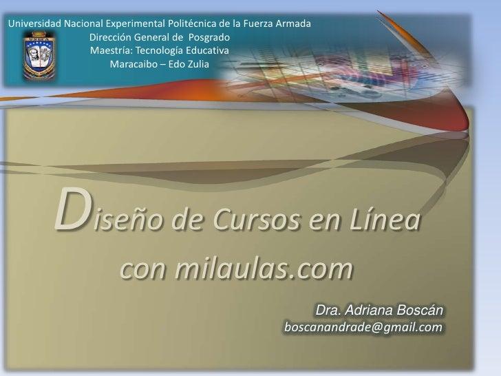 Diseño de cursos en línea. milaulas.com