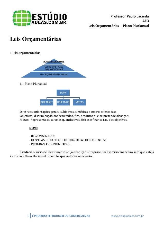 Professor Paulo Lacerda  AFO  Leis Orçamentárias – Plano Plurianual  1 É PROIBIDO REPRODUZIR OU COMERCIALIZAR www.estudioa...