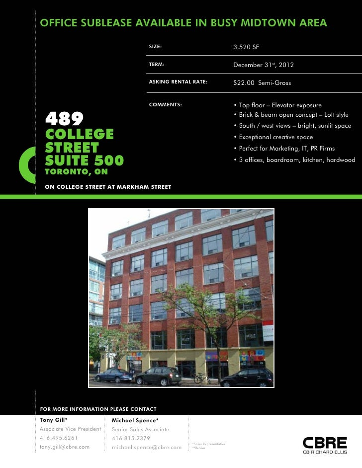 OFFICE SUBLEASE AVAILABLE IN BUSY MIDTOWN AREA                                         SIZE:                              ...