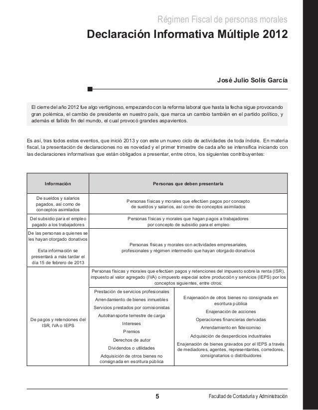 Régimen Fiscal de personas morales                               Declaración Informativa Múltiple 2012                    ...