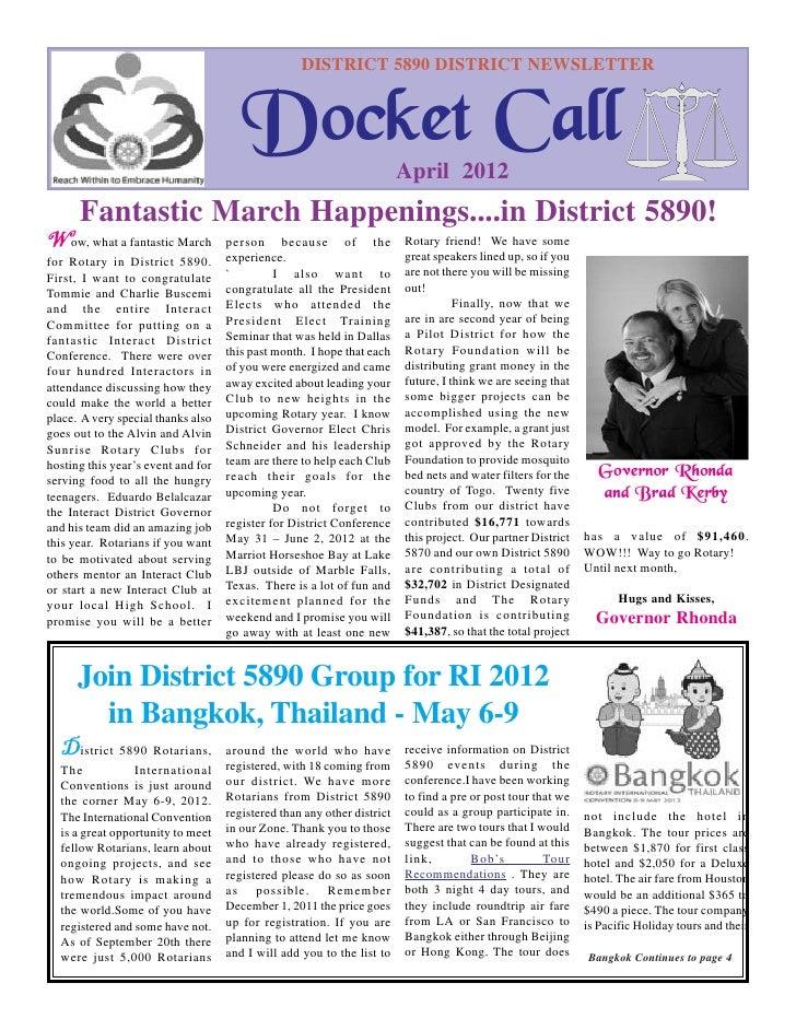 DISTRICT 5890 DISTRICT NEWSLETTER                                       Docket Call                       April 2012      ...