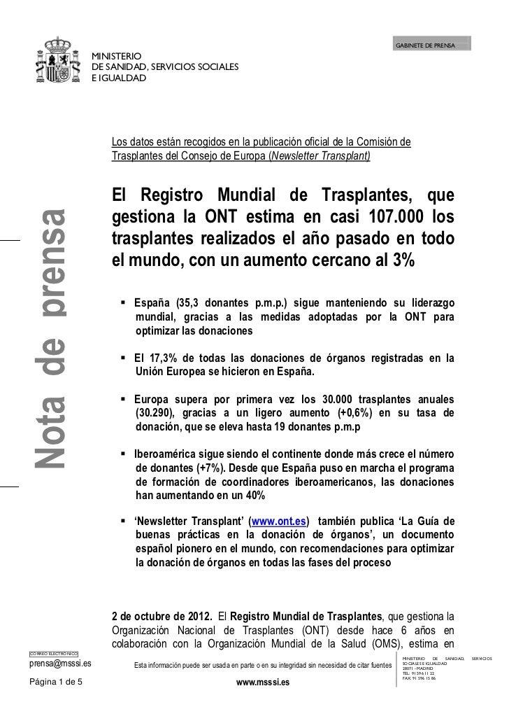 2 de octubre de 2012  datos registro mundial de trasplantes