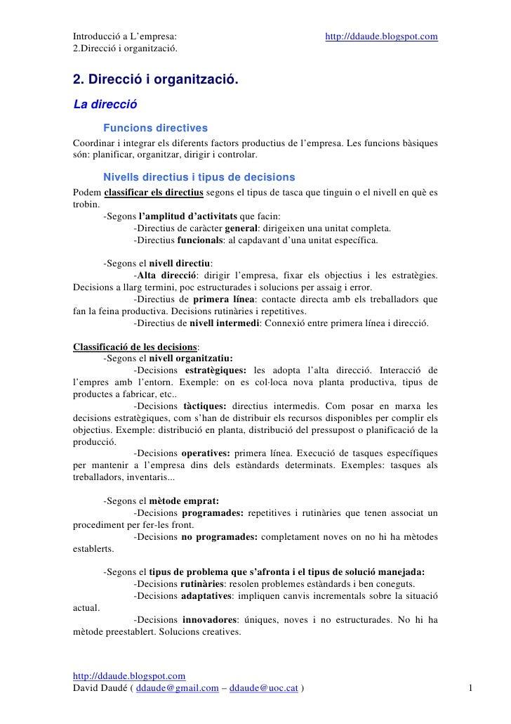 Introducció a L'empresa:                                      http://ddaude.blogspot.com 2.Direcció i organització.   2. D...