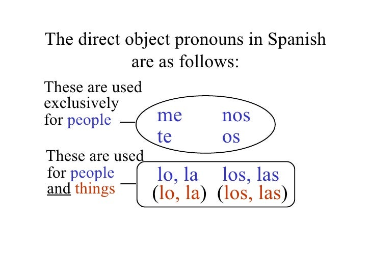2 Direct Objects The Personal A And Direct Object Pronouns