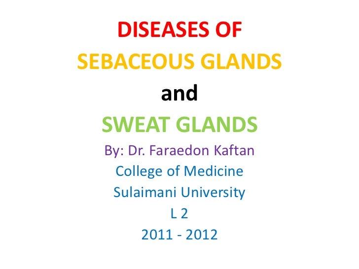 DISEASES OFSEBACEOUS GLANDS       and  SWEAT GLANDS  By: Dr. Faraedon Kaftan   College of Medicine   Sulaimani University ...