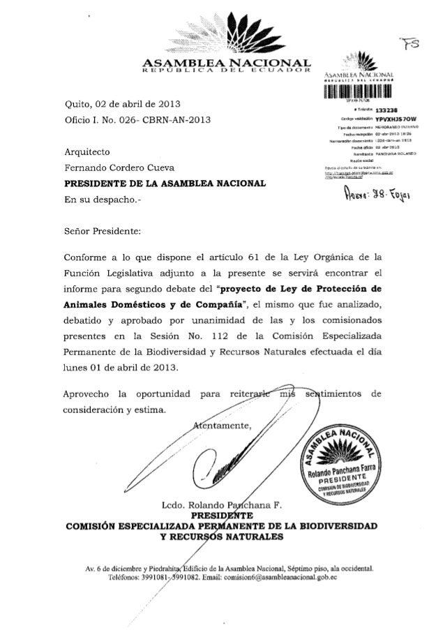 ASAMBLEA NACIONAL                      REPÚBLICA                  DE L E C U A D O R                                      ...