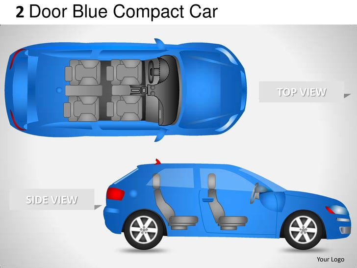 2 door blue compact car side view powerpoint presentation templates