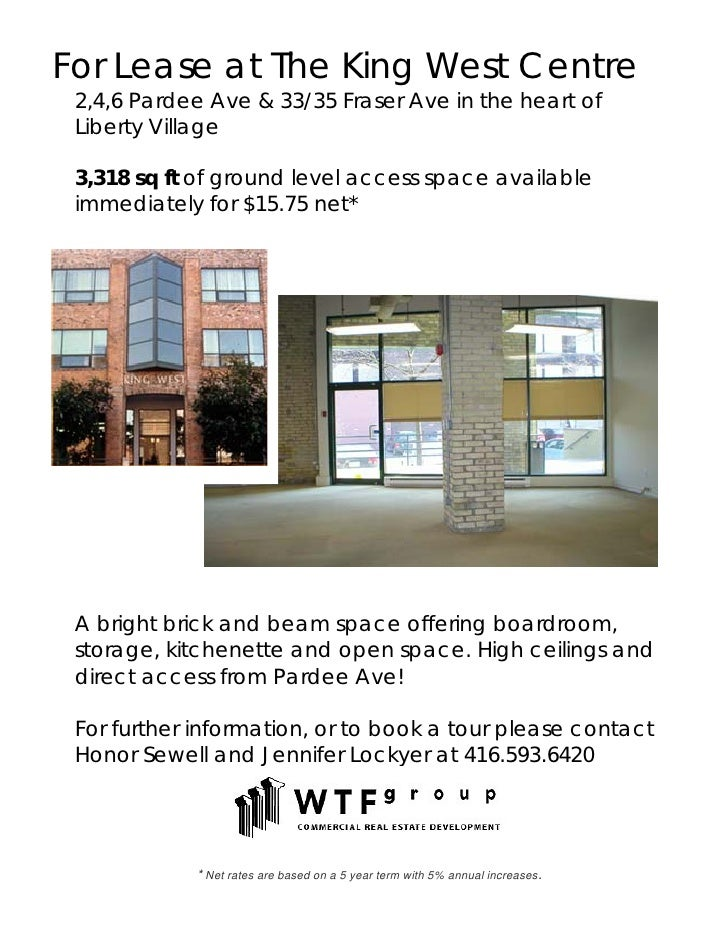 For Lease at The King West Centre  2,4,6 Pardee Ave & 33/35 Fraser Ave in the heart of  Liberty Village   3,318 sq ft of g...