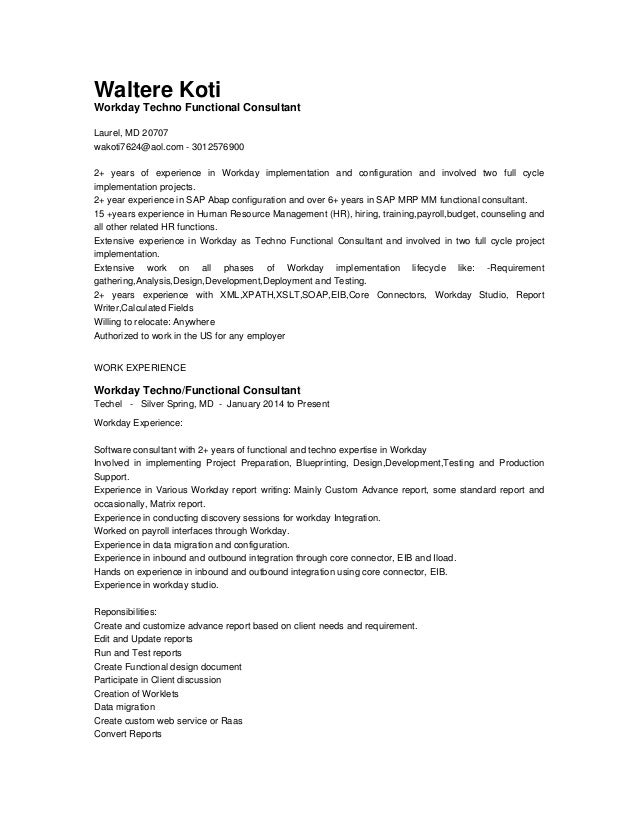Techno functional resume