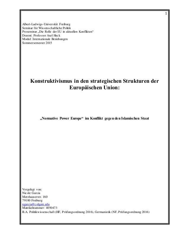 """1 Albert-Ludwigs-Universität Freiburg Seminar für Wissenschaftliche Politik Proseminar """"Die Rolle der EU in aktuellen Konf..."""