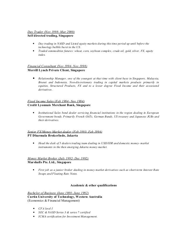 self employed day trader resume former business owner resume