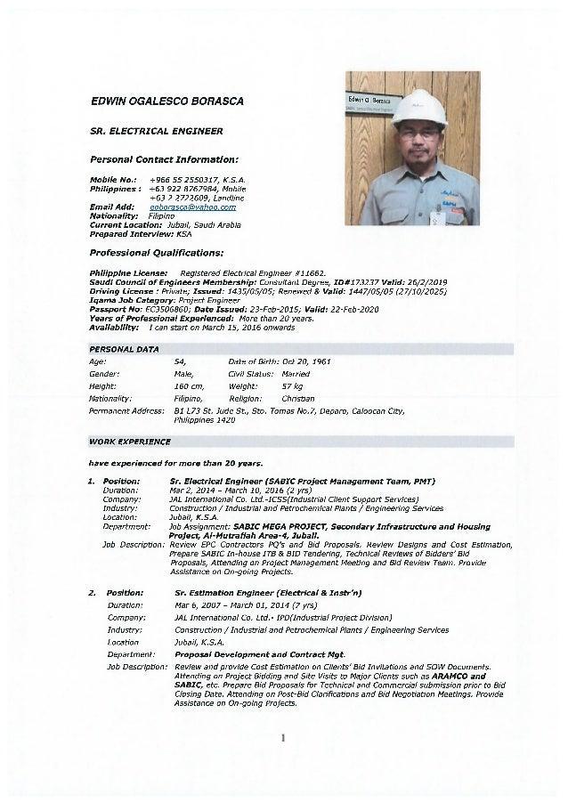 CV - EDWIN BORASCA- SR. ELECTRICAL ENGR