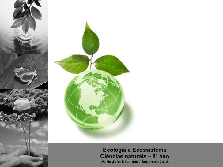 Ecologia e EcossistemaCiências naturais – 8º anoMaria João Drumond / Setembro 2012