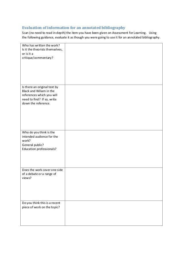 Evaluation of information for an annotated bibliography worksheet
