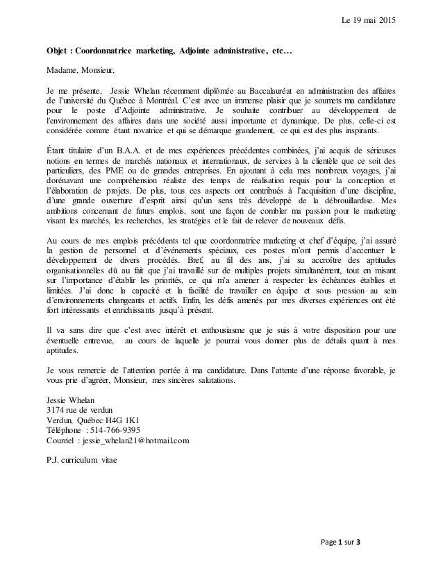 lettre de pr u00e9sentation et cv