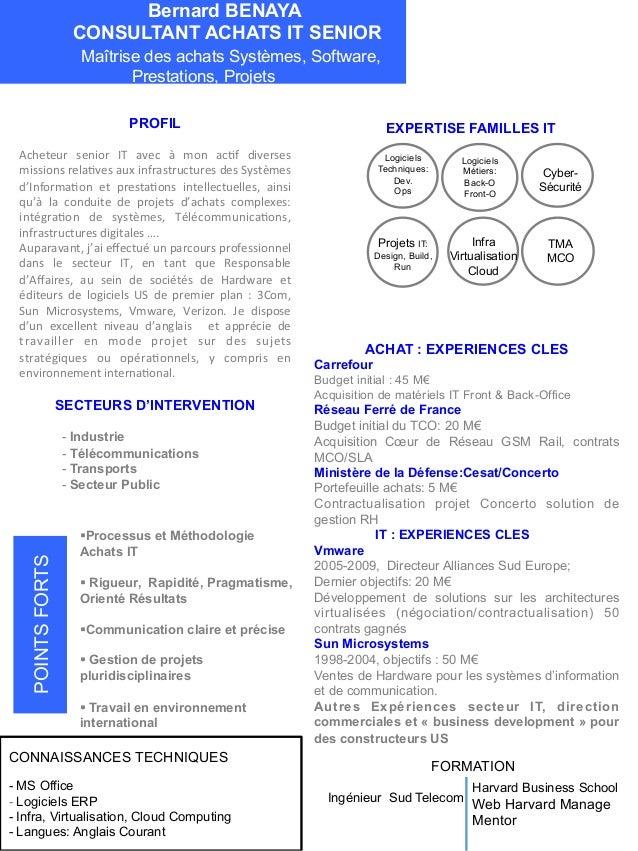 Bernard BENAYA CONSULTANT ACHATS IT SENIOR Maîtrise des achats Systèmes, Software, Prestations, Projets PROFIL Acheteur  ...