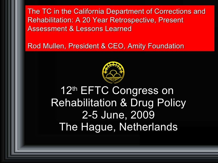 12 th  EFTC Congress on  Rehabilitation & Drug Policy 2-5 June, 2009 The Hague, Netherlands The TC in the California Depar...