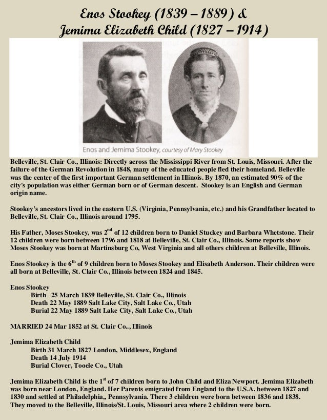 Enos Stookey (1839 – 1889) & Jemima Elizabeth Child (1827 – 1914) Belleville, St. Clair Co., Illinois: Directly across the...