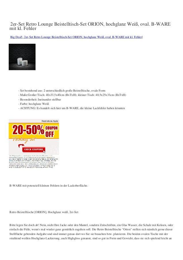 2er-Set Retro Lounge Beistelltisch-Set ORION, hochglanz Weiß, oval. B-WAREmit kl. FehlerBig Deal!- 2er-Set Retro Lounge Be...