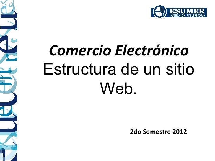 Comercio ElectrónicoEstructura de un sitio        Web.            2do Semestre 2012