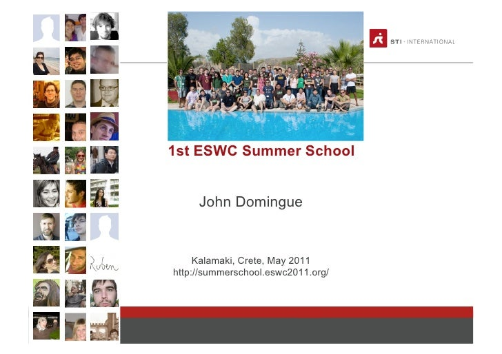 1st ESWC Summer School                    John Domingue                    Kalamaki, Crete, May 2011               http://...