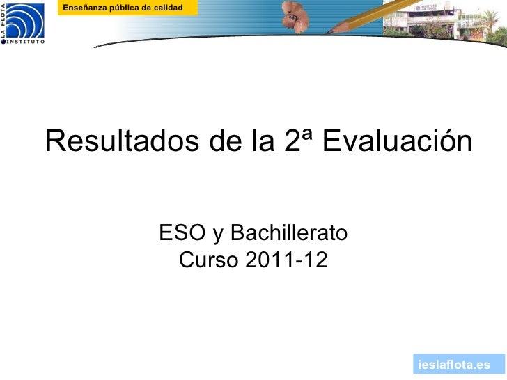 Enseñanza pública de calidadResultados de la 2ª Evaluación                       ESO y Bachillerato                       ...