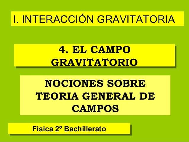 I. INTERACCIÓN GRAVITATORIA         4. EL CAMPO         4. EL CAMPO        GRAVITATORIO        GRAVITATORIO    NOCIONES SO...