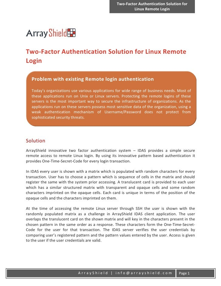 Two-Factor Authentication Solution for                                                           Linux Remote LoginTwo-Fac...