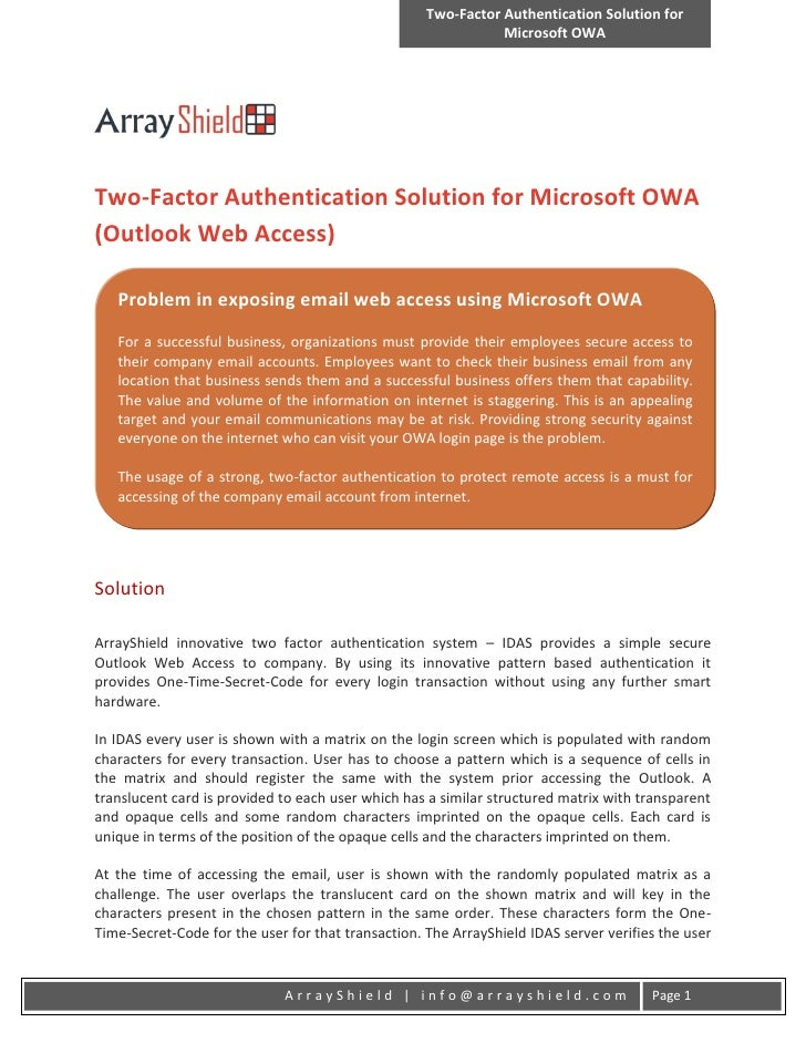 Two-Factor Authentication Solution for                                                               Microsoft OWATwo-Fact...
